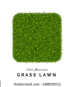 Fake green grass or astroturf square background. Eco home concept with 3d vector turf football soccer field illustration isolated