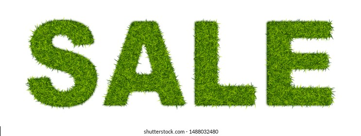 Fake green grass word SALE made of or astroturf. Business concept with 3d vector turf letters isolated
