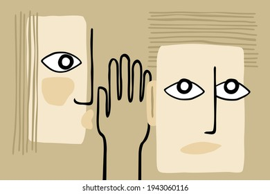 Fake news - abstract person whispers gossip in another persons ear. Vector illustration