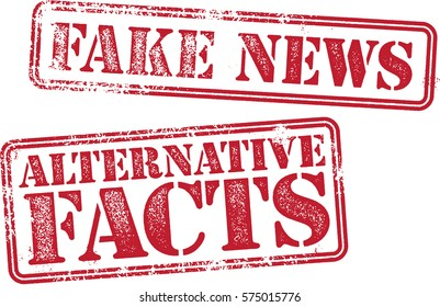 Fake News and Alternative Facts Rubber Stamp