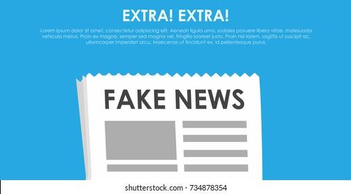 Fake news banner. Blue background with newspaper and speaker. Vector flat illustration
