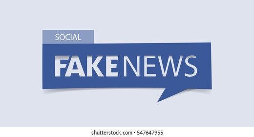Fake news banner isolated on light blue background. Banner design template. Vector illustration