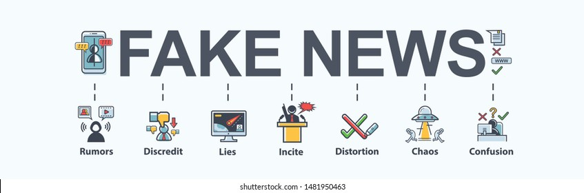 Fake news banner meaning icon in social media, fake, discredit, lie, confusion, incite and distortion. Flat vector infographic