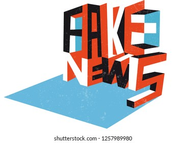 """fake news concept, geometrical cube with words """"fake"""" and """"news"""""""