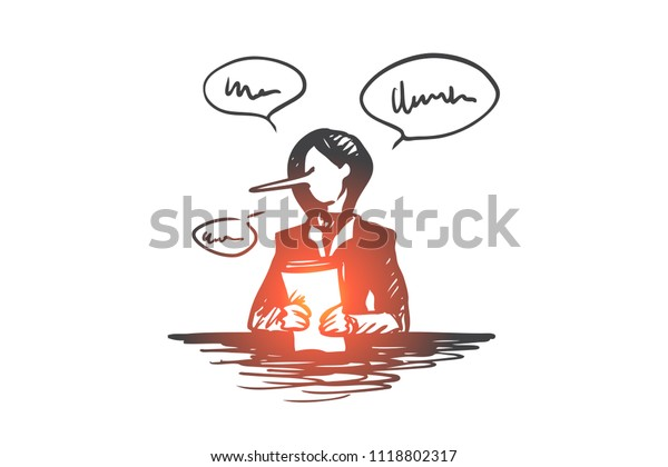 Fake news concept. Hand drawn person with a long liar nose reporting false media isolated vector illustration. Isolated vector illustration.