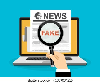 Fake news or fact scanning with magnifying glass vector illustration - Vector illustration