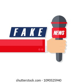 Fake News flat design vector illustration with male hand holding microphone.