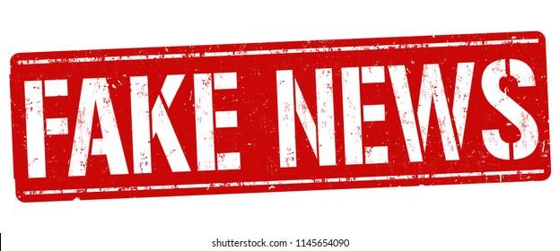 Fake news grunge rubber stamp on white background, vector illustration