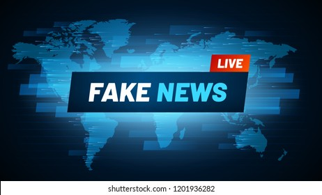 Fake News headline. Television reportage fabrication logo, deceit broadcasting and social falsification world breaking news banner. Urgent report information vector concept background