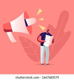 Fake News, Information and Disinformation. Male Character Reading Newspaper near Huge Megaphone Speak. Mass Media Worldwide Human Consciousness Manipulation, Gossip Info. Cartoon Vector Illustration