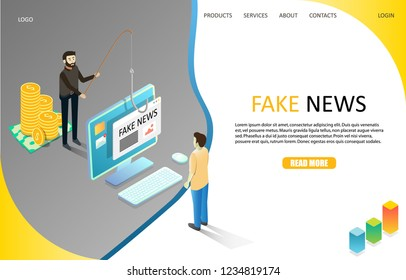 Fake news landing page website template. Vector isometric illustration. Disinformation or hoaxes spread via online social media or fake news websites.