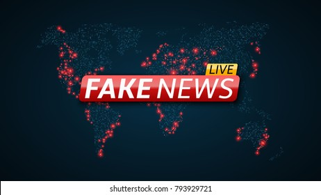 Fake news live and abstract map planet earth. Futuristic map. Red glossy banner with text. Space and stars. High tech. Vector illustration