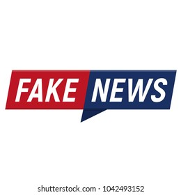 Fake news minimalistic logo on white background. Entertaining show with news. Vector Illustration.