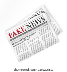 Fake news realistic newspaper isolated vector illustration.