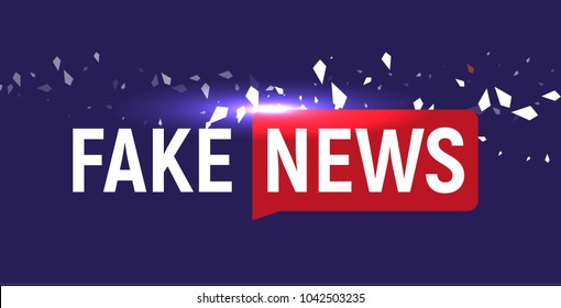 Fake News show logo template. Bubble speech news on blue background with fragments, particles. Vector Illustration.