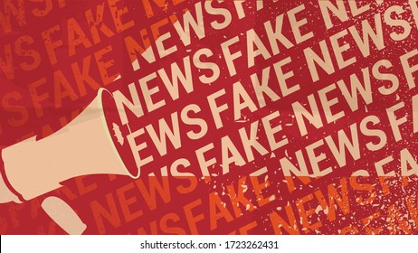 Fake News Template. Megaphone And Text On Crumpled Red Paper Background. Hoax, Propaganda And Disinformation Concept. Editable EPS Vector Illustration