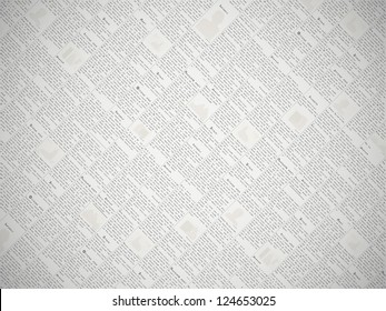Fake newspaper with a non-existent language texture - vector print background
