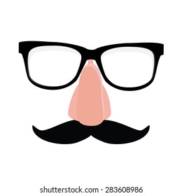Fake nose and glasses humor mask vector illustration. Disguise glasses, nose and mustache. Funny glasses