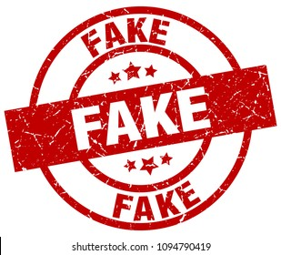 fake round red grunge stamp