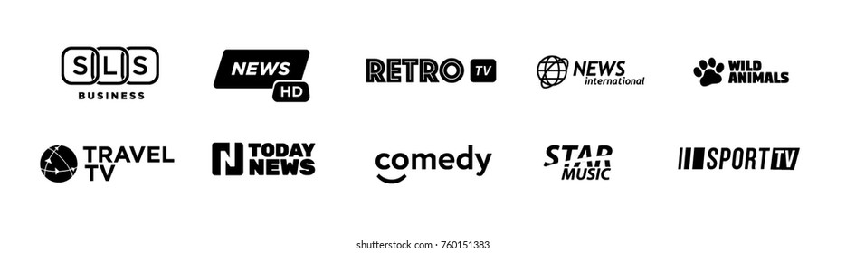 Fake tv-channel logo set includes: business, travel, news, comedy, retro, music, sport and animals channels