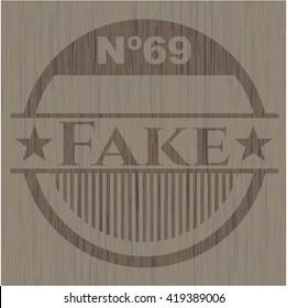 Fake wooden emblem. Retro