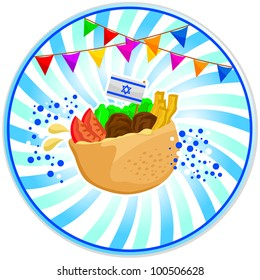falafel (Israeli food) with the Israeli flag and decorations for independence day