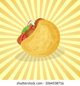 Falafel in pita - cute cartoon colored picture of traditional Arabic and Jewish food. Graphic design elements for menu, advertising, poster, brochure or background. Vector illustration of fast food
