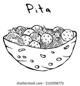 Falafel Pita or Meatball Salad in Pocket Bread. Arabic Israel Healthy Fast Food Bakery. Jewish Street Food. Realistic Hand Drawn Illustration. Savoyar Doodle Style.