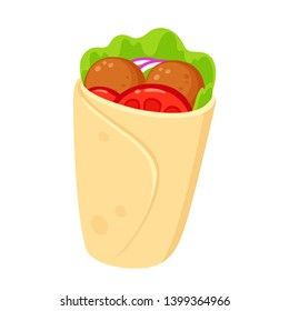Falafel wrap with vegetables, cartoon style drawing. Healthy vegetarian fast food vector clip art illustration.