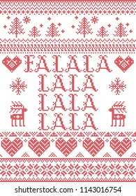 Falalalalalalalala Christmas song Scandinavian vector seamless pattern inspired by nordic culture festive winter in cross stitch with heart, snowflake, star,  snow, Christmas tree