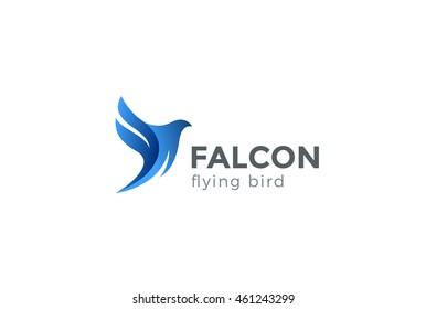 Falcon Bird Logo abstract design vector template. Flying Eagle logotype concept icon.
