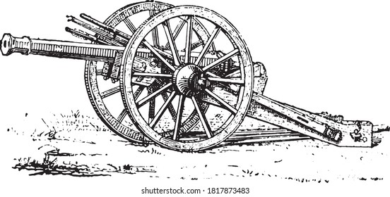 Falcon canon XVI century - Henri II (Paris Artillery Museum), From the Dictionary of Word and Things, 1888.