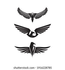 Falcon Eagle Bird Logo Template vector icon, black wings animal wings, bird, bat and fly