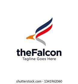 falcon, eagle, hawk logo with letter F concept design vector template illustration.