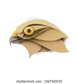 Falcon head. Cartoon wild bird in trendy paper cut craft graphic style. Modern design for advertising, branding greeting card, cover, poster, banner. Vector illustration.