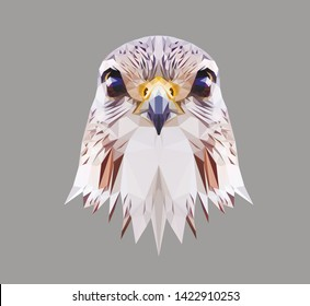 Falcon head on grey background, low poly triangular vector illustration EPS 10 isolated. Polygonal style trendy modern logo design. Suitable for printing on a t-shirt.