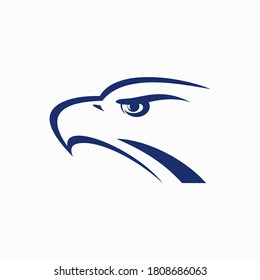 falcon head vector logo illustration perfect good for mascot delivery or logistic logo industry flat color style with blue and grey.