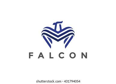 Falcon Logo abstract design vector template Linear style. Bird Eagle Hawk Luxury Logotype concept icon.