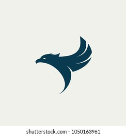 Falcon logo template, eagle wings, hawk vector icon