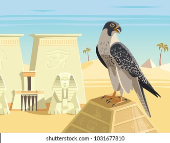 Falcon on the top of ancient egypt pyramid