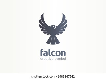Falcon, phoenix, crow silhouette creative symbol concept. Freedom, growth eagle wings, fly abstract business logo idea. Bird flight icon. Corporate identity logotype, company graphic design tamplate