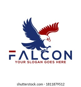 falcon typography vector logo illustration, good for mascot delivery or logistic logo industry flat color style with blue and red.