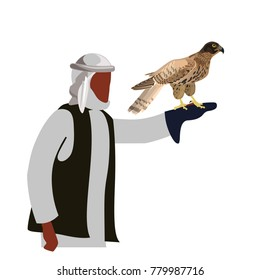 Falconer with his falcon. Vector illustration isolated on white background.