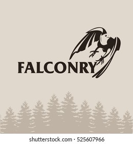 Falconry. A hunting club.The symbol of a hunting club. Hunting club logo emblem.