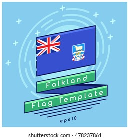 Falkland Flag  : Flag Icon With Festive Background : Vector Illustration