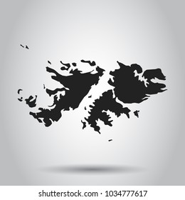 Falkland Islands vector map. Black icon on white background.