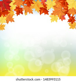 Fall (Autumn) Background With Maple Leaves. Vector Illustration.