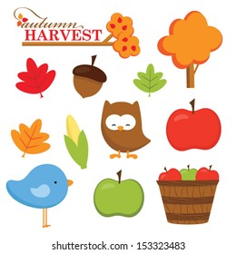Fall and Autumn Harvest Clip Art Set with leaves, apples, trees and cute owl and bird