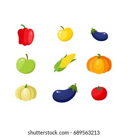 Fall, autumn harvest set - pumpkin, corn, eggplant, bell pepper, tomato and apples, cartoon vector illustration isolated on white background.