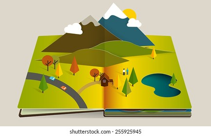 Fall or autumn popup book